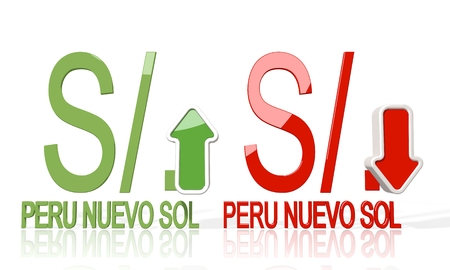sol: 3d icon of Peru Nuevo Sol symbol with up and down stock market trade trend arrows isolated on white background Stock Photo