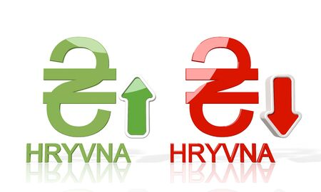 hryvna: 3d icon of Ukraine Hryvna symbol with up and down stock market trade trend arrows isolated on white background