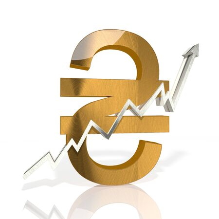 hryvna: golden Ukraine Hryvna symbol with stock market up graph in stylish silver 3d rendered and isolated on white background Stock Photo