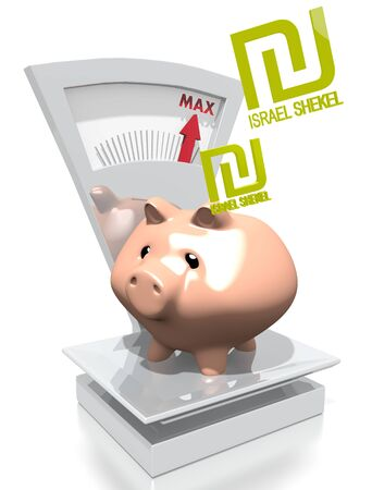 maximize: illustration of a money Israel Shekel pig with max weight on a scale isolated on white background