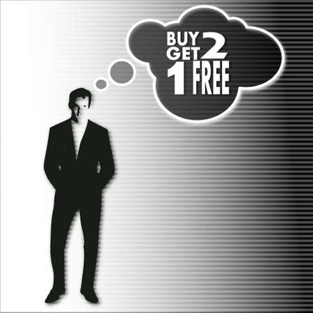 get one: illustration of a businessman thinking a buy two get one free vision.on a stylish striped black white background Stock Photo