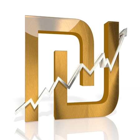 golden Shekel sign with stock market up graph in stylish silver 3d rendered and isolated on white background photo