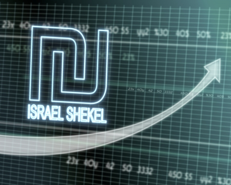 successful investmanet chart with a Israel Shekel icon on a stock market table with rising graph arrow Stock Photo