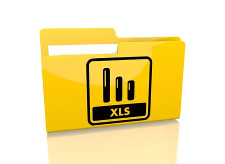 xls: a 3d rendered icon showing a file folder with a xls sign on it isolated on white background Stock Photo