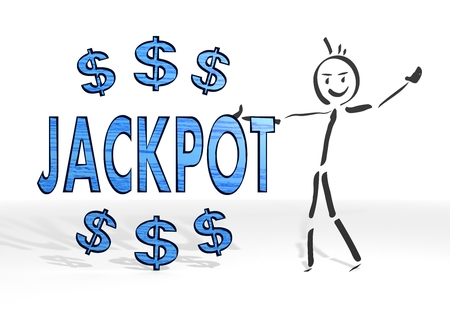 quick money: simple stick man presents a jackpot symbol white background