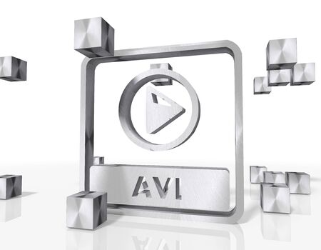 avi: 3d rendered avi file icon constructed out of metallic faces. A icon avi file builds up in the middle of the scene surrounded by steel cubes on white background Stock Photo