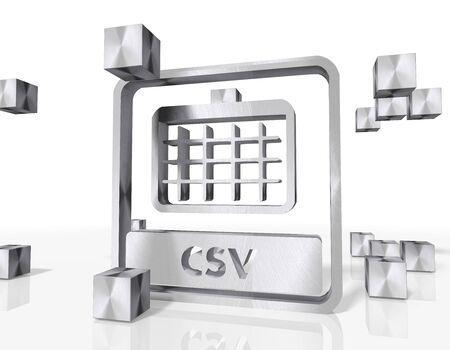 csv: 3d rendered csv icon constructed out of metallic faces. A icon csv builds up in the middle of the scene surrounded by steel cubes on white background Stock Photo
