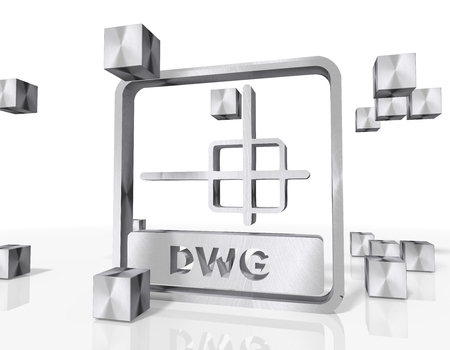 3d rendered dwg file symbol constructed out of metallic faces. A symbol dwg file builds up in the middle of the scene surrounded by steel cubes on white background photo