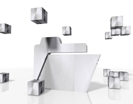 sort out: 3d rendered folder symbol constructed out of metallic faces. A symbol folder builds up in the middle of the scene surrounded by steel cubes on white background