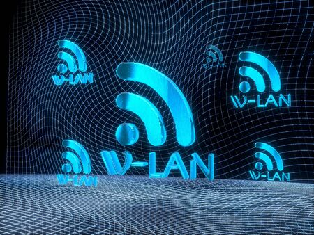 wlan: digital internet 3d rendering of a wlan constructed out of electronic faces in cyber space. A wlan builds up in the middle of the scene surrounded by digital data network on black background
