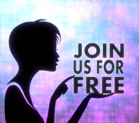 silhouette of a pretty girl presenting a glaring join us on modern fresh pink blue background Banco de Imagens