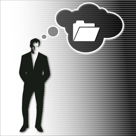 sort out: illustration of a businessman thinking a folder vision.on a stylish striped black white background
