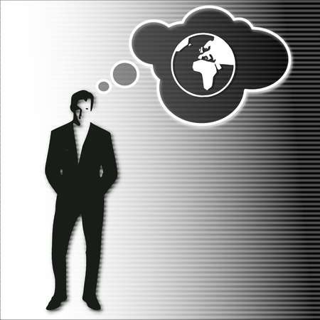 world thinking: illustration of a businessman thinking a world vision.on a stylish striped black white background