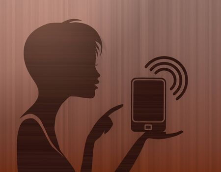 smart phone woman: silhouette of a noble woman presenting a smart phone on stylish background with brown lines Stock Photo