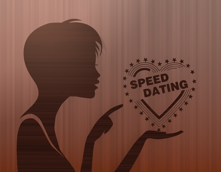 speed dating: silhouette of a pretty woman presenting a speed dating on stylish background with brown lines