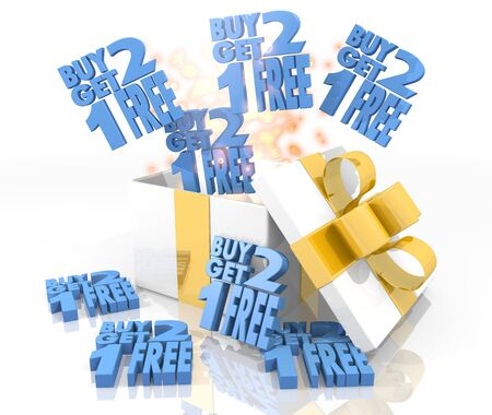 get one: isolated 3d rendered gift on white background with glittering buy two get one free icon coming out of it Stock Photo