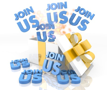join us: isolated 3d rendered gift on white background with glittering join us symbol coming out of it