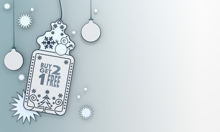 illustration of a christmas label with buy two get one free sign in front of a ice blue background with gradient to white and space for own content and text illustration