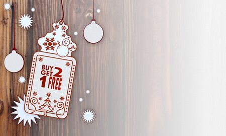 get one:  illustration of a christmas card with buy two get one free sign in front of a wooden background with gradient to white