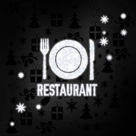 knive: festive stylish restaurant symbol in black white with xmas icons in the background and presents and glaring stars