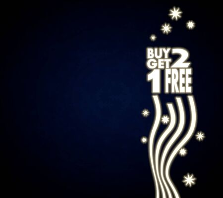 get one: luxury noble buy two get one free background in dark blue with christmas symbols and presents and glaring stars