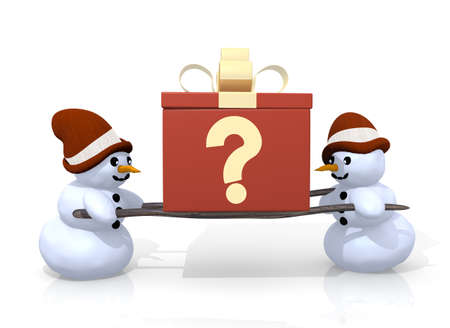 unresolved: a 3d rendered gift with a question sign printed on it is carried by two undissolved snowman isolated on white background