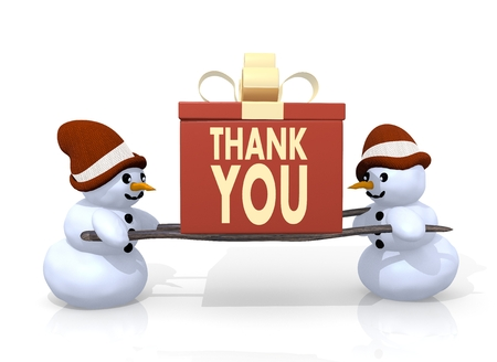 a 3d rendered gift with a thank you symbol printed on it is carried by two happy snowman isolated on white background