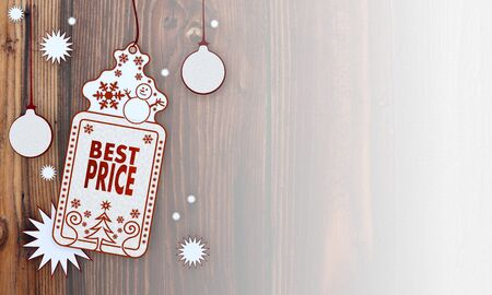 lowest: lowest price, illustration of a christmas card with best price sign in front of a wooden background with gradient to white