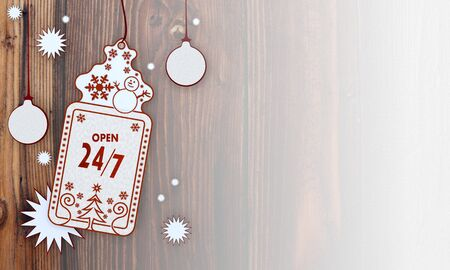 shop opening hours: illustration of a christmas card with open label in front of a wooden background with gradient to white