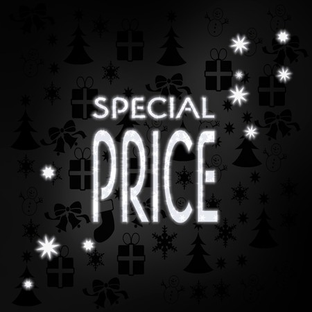 special price: festive stylish special price label in black white with xmas icons in the background and presents and glaring stars