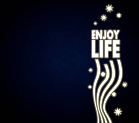 enjoy life: festive noble enjoy life template in dark blue with christmas symbols and presents and glaring stars Stock Photo