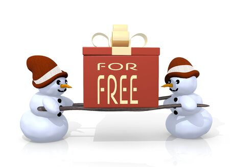 a 3d rendered gift with a free sign printed on it is carried by two happy snowman isolated on white background photo