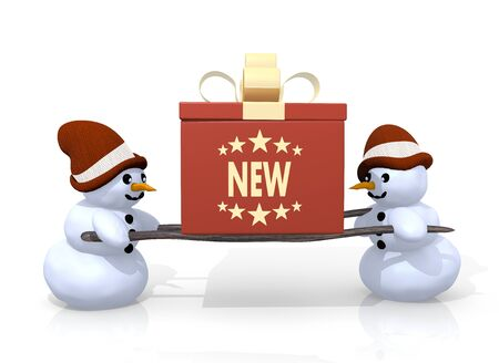 brand new: a 3d rendered gift with a new symbol printed on it is carried by two happy snowman isolated on white background
