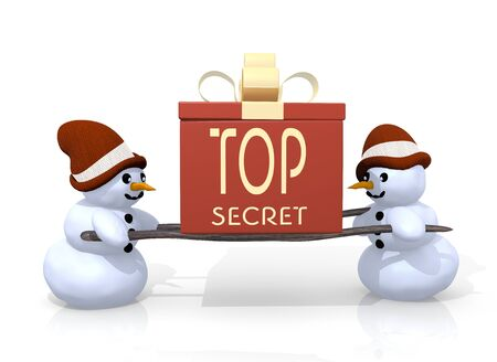 arcane: a 3d rendered gift with a top secret sign printed on it is carried by two cute snowman isolated on white background Stock Photo
