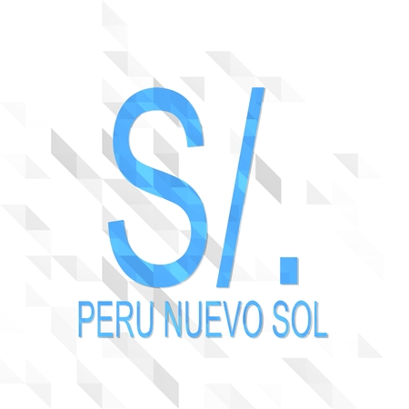 sol: creative sign low poly of Peru Nuevo Sol isolated on trendy white triangle background