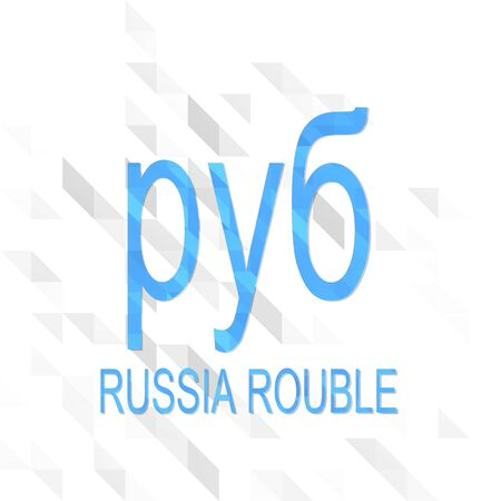 rouble: unusual sign low poly of Rouble isolated on trendy white triangle background