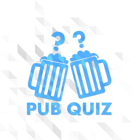 different sign low poly of pub quiz isolated on trendy white triangle background Stock Photo