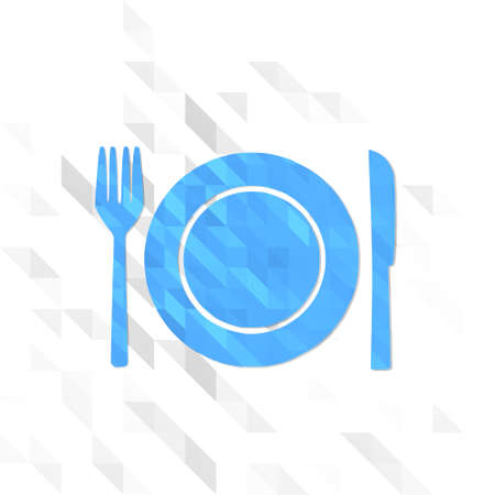 3d symbol low poly of restaurant isolated on trendy white triangle background