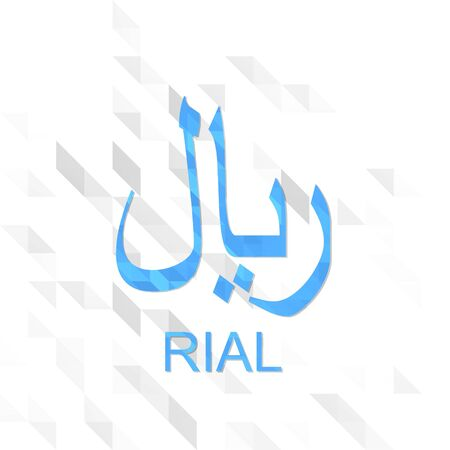 unusual symbol low poly of Rial isolated on trendy white triangle background