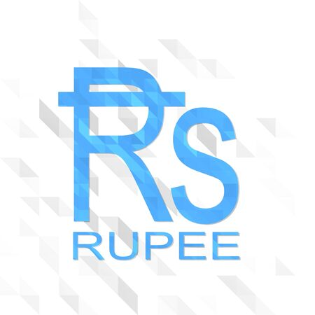 creative sign low poly of Rupee isolated on trendy white triangle background