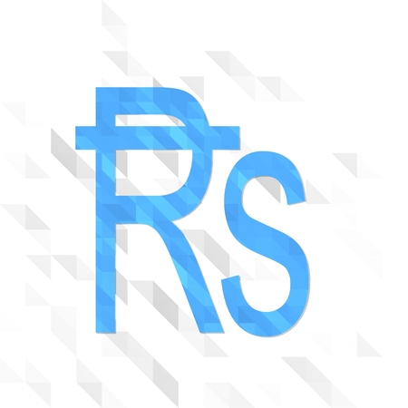 friendly symbol low poly of Rupee isolated on trendy white triangle background Stock Photo