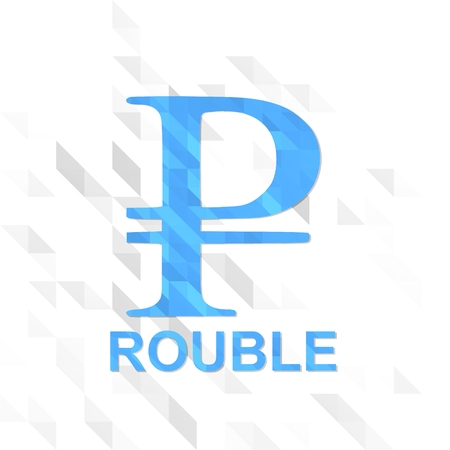 unusual symbol low poly of Russia Ruble isolated on trendy white triangle background