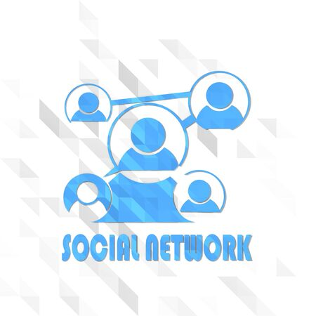 creative symbol low poly of social network isolated on trendy white triangle background Stock Photo