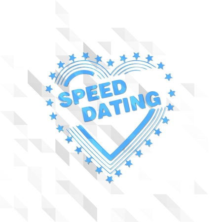 speed dating: friendly symbol low poly of speed dating isolated on trendy white triangle background Stock Photo