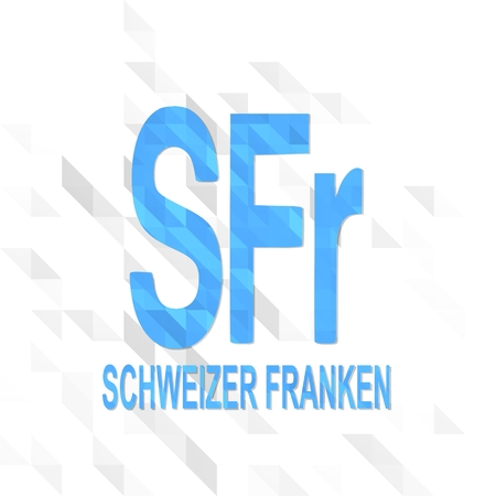 friendly symbol low poly of Switzerland Franc isolated on trendy white triangle background Stock Photo