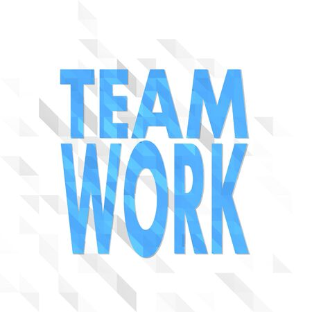 origami sign low poly of Teamwork isolated on trendy white triangle background