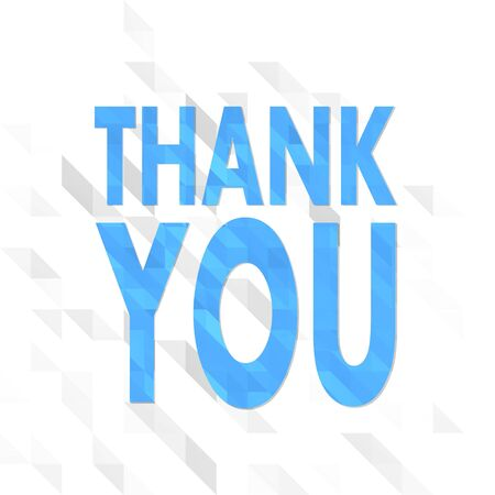 origami illustration low poly of thank you isolated on trendy white triangle background