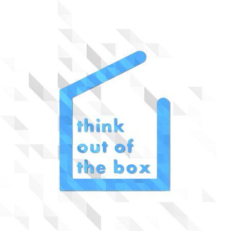 out think: s�mbolo creativo bajo poli de pensar fuera de la caja aislada en el fondo trendy tri�ngulo blanco Foto de archivo