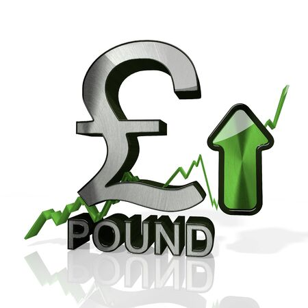 3d rendered sign of United Kingdom Pound currency with up stock market trend arrows in stylish silver metal isolated on white background