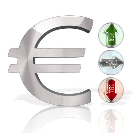 stock market Euro symbol with three analysis buttons 3d rendered and isolated on white background